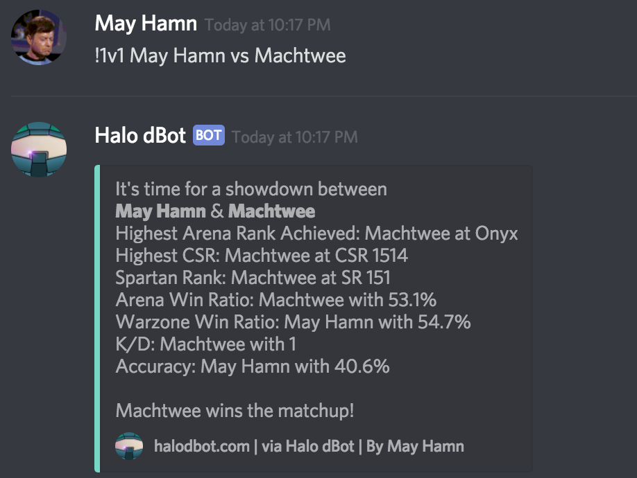 Halo dBot Commands
